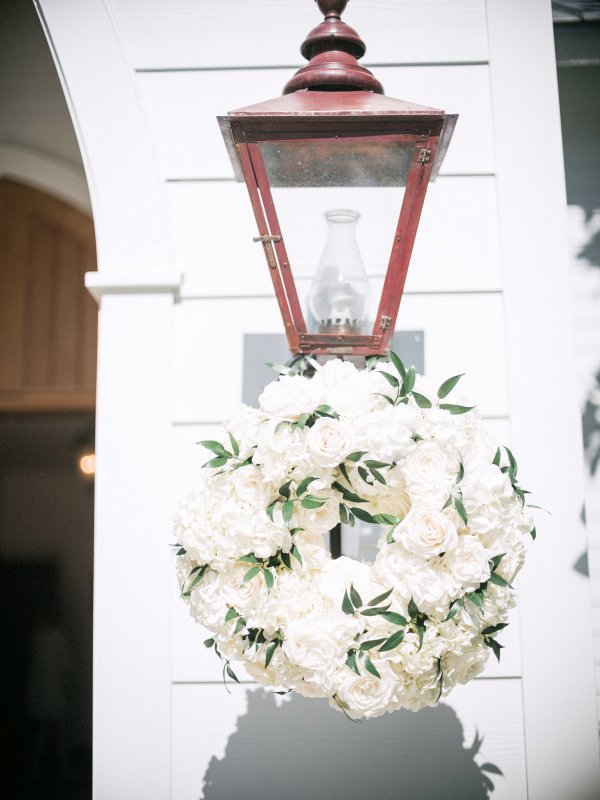 Rose Hydrangea Wreath on Lanterns