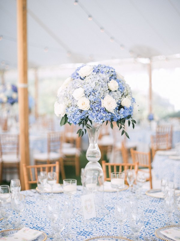 Tall Wedding Centerpieces with Shades of Blue Hydrangea and Open Roses