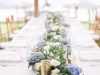 Garland on Feasting Table with Blue Hydrangeas and White Roses and Gold