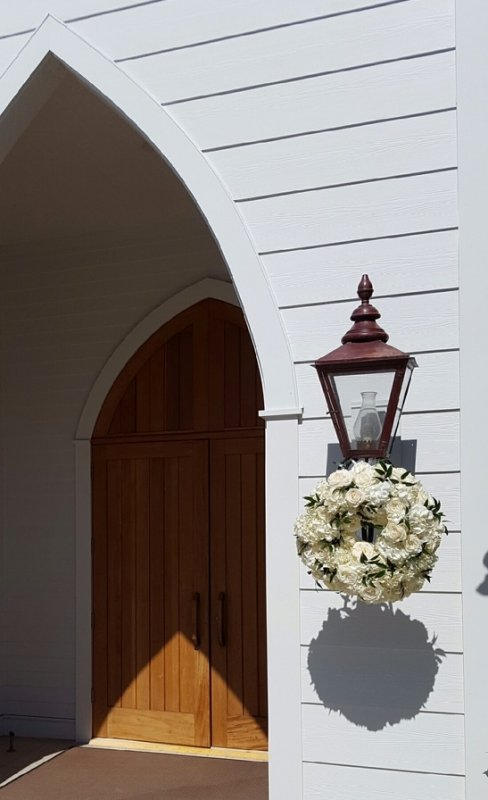 Wreath Outside Church with Hydrangea and Playa Blanca Roses