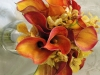 bridal bouquet of mango calla and mokara orchids