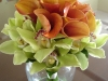 bridal bouquet of mango calla and green cymbidium