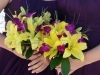 bridesmaids bouquet yellow lilies purple orchids