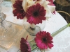 Bridal bouquet white rose and hot pink gerbera daisies