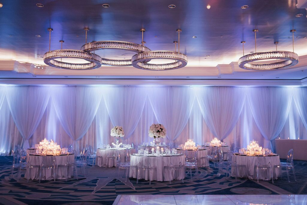 Ritz Carlton Ballroom with Draping and Elevated and Candle Centerpieces