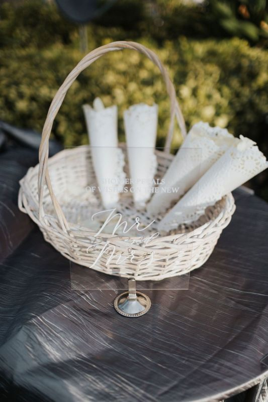 Basket of Lace Cones with Petals for Tossing at End of Ceremony