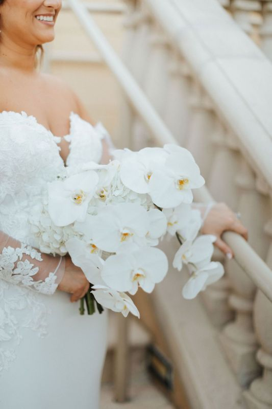 Bridal Bouquet with a Hint of Hydrangea Behind Phalaenopsis Orchids