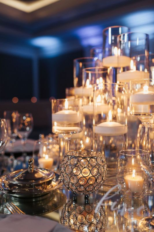 Close Up of Candle Light Centerpieces
