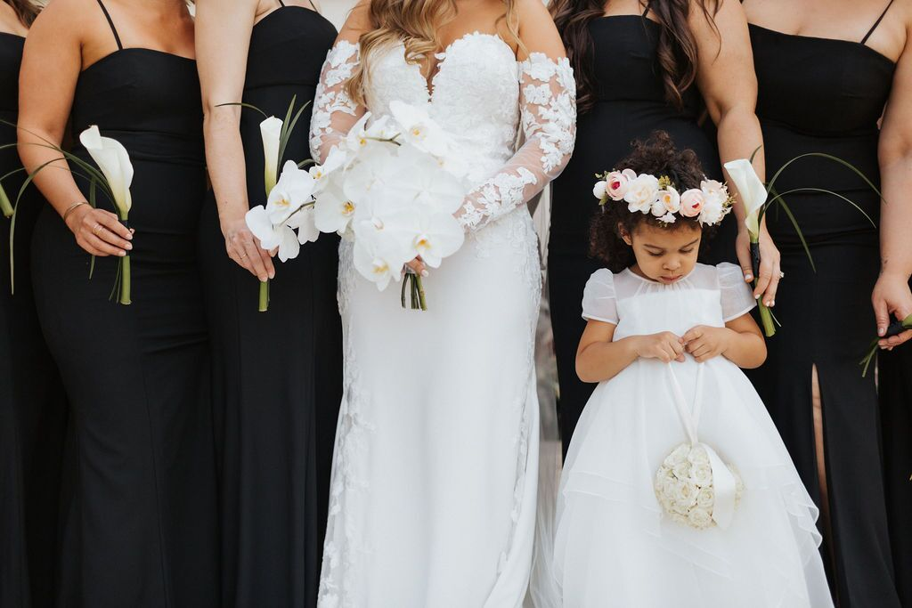 Close Up of Bridal Bouquet, Bridesmaids' Single Calla Lily, and Flower Girl with  Flower Halo and Rose Pompadour