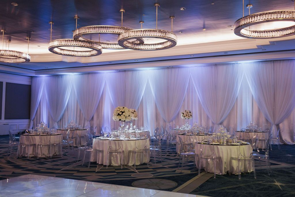 Guest Tables with Either Elevated Floral Centerpiece or Candles Centerpiece