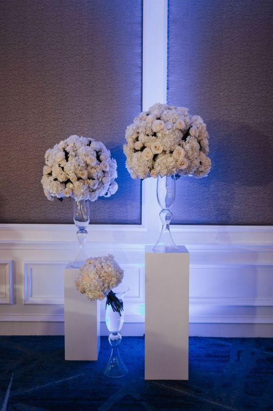White Columns from Ceremony Moved to Reception Behind Head Table