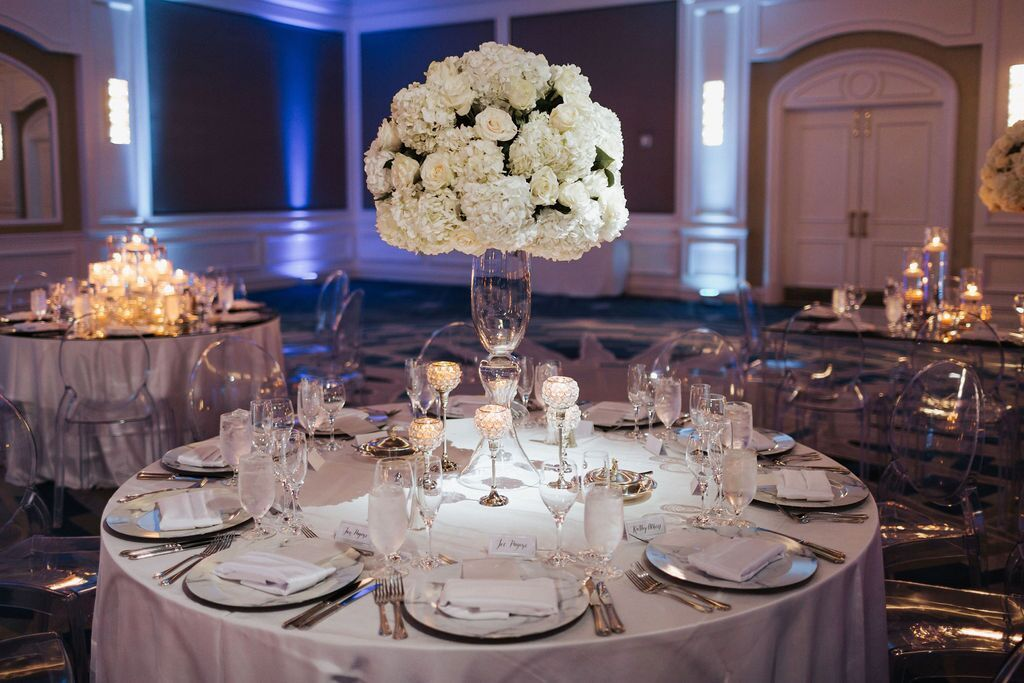 White Hydrangea and Roses Elevated Guest Table Centerpiece