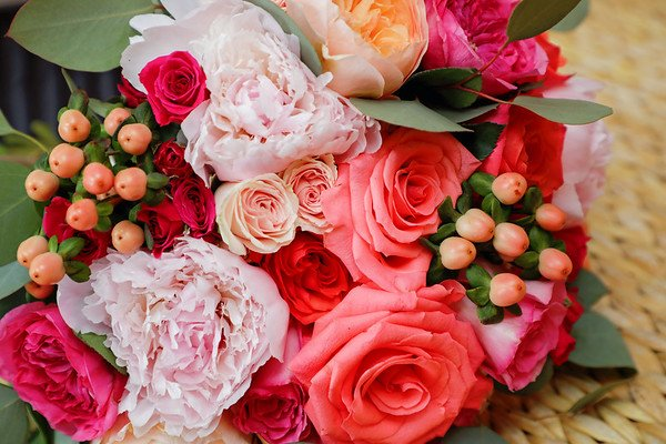 Bridal Bouquet with Pink Peonies, Hot Pink Amsterdam Juliets