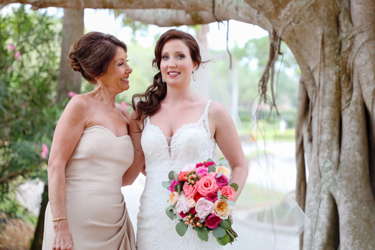 Bride with Mother and Colorful Bouquet