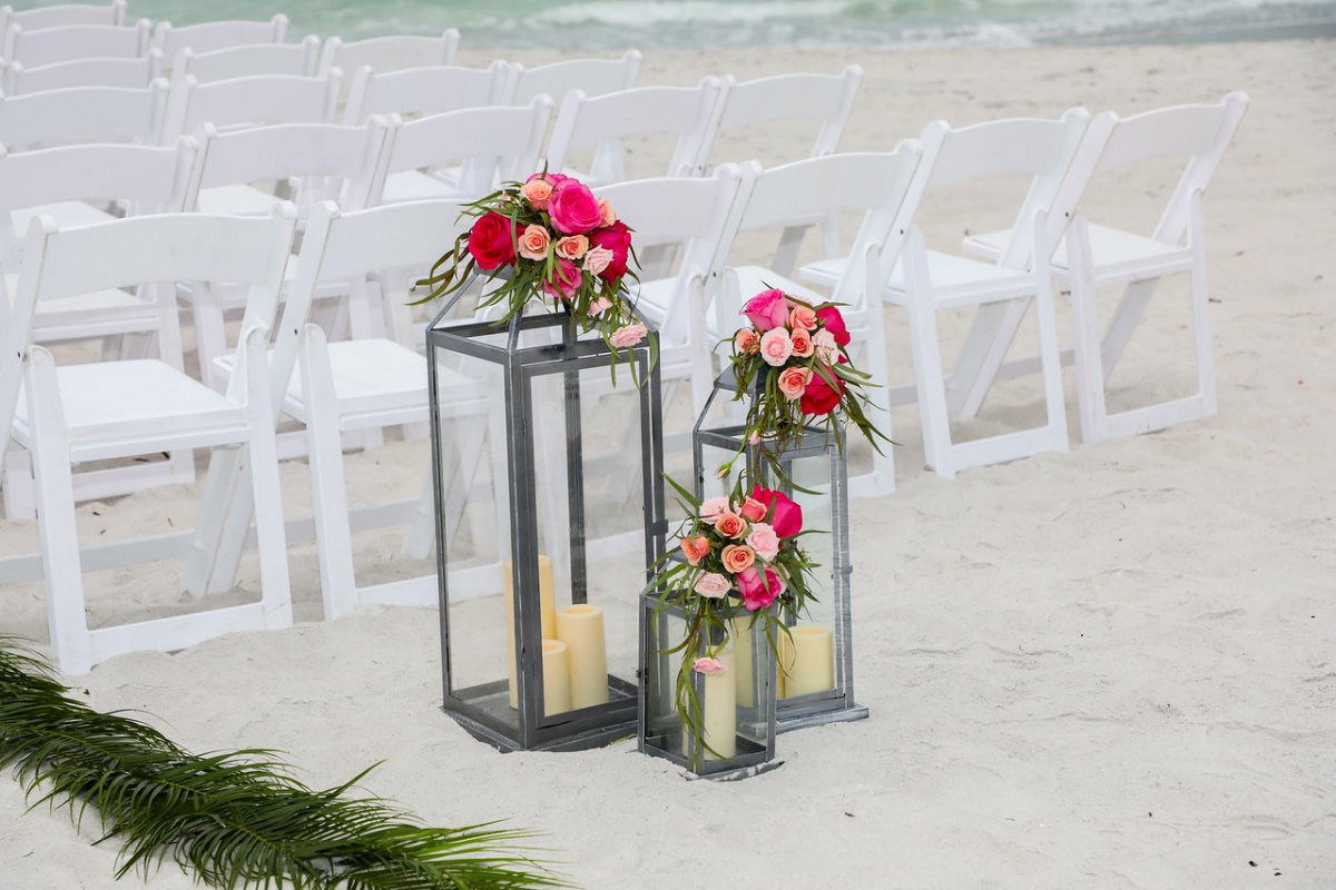Grouping of Lanterns with Hot Pink and Coral Flowers