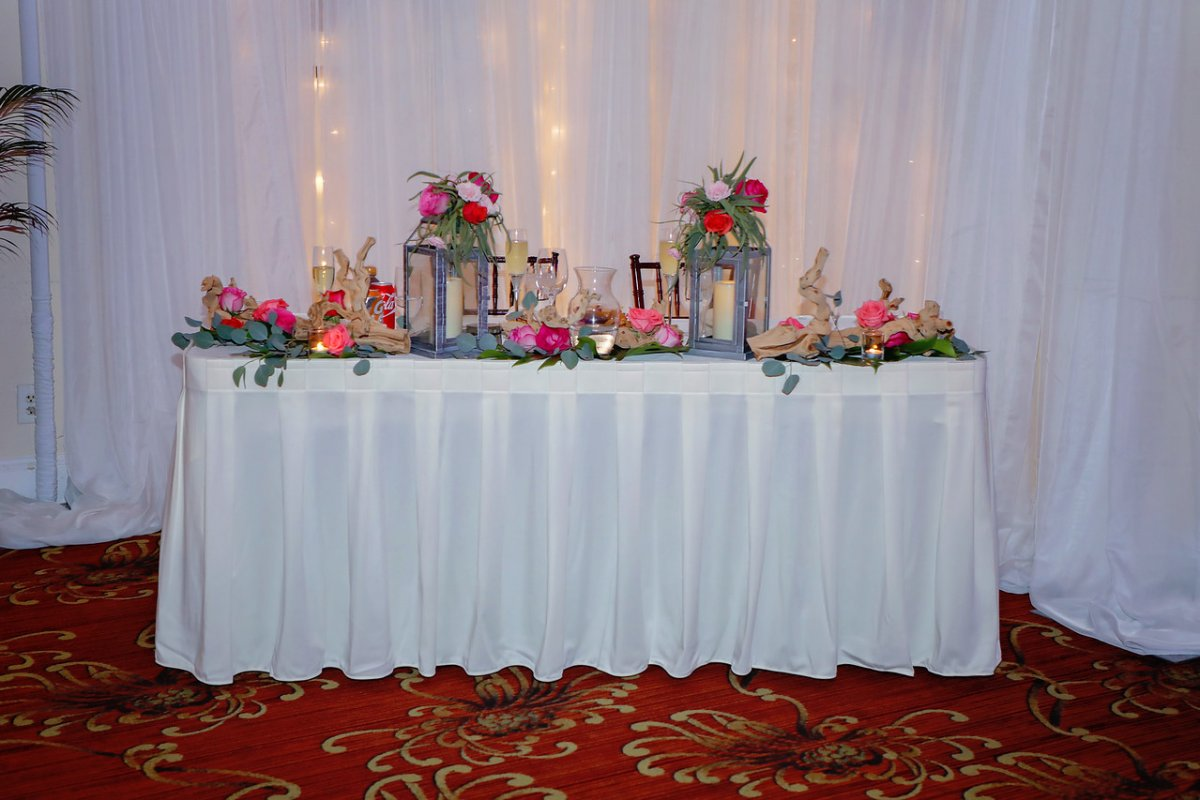 Sweetheart Table with Lanterns Ghost Wood and Flowers