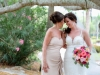 Bride and Mother-of-the-Bride with Colorful Bouquet