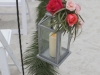 Silver Lantern with Hot Pink and Coral Flowers