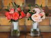 Bridesmaids Bouquets of Shimmer Roses, Wow Roses, Coral S[ray Roses, Veronica Flowers, and Ruscus