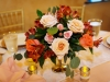 Gold Footed Bowl with Corals, Reds, and Peach Colors Centerpiece