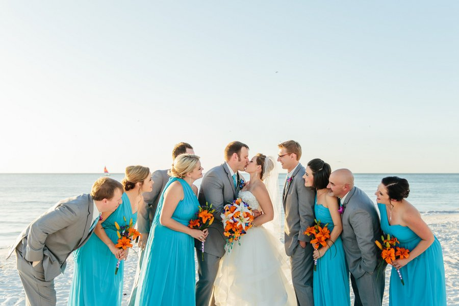 Beautiful Bridal Party of Oranges and Blues