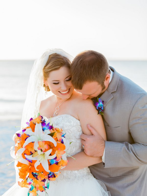Beautiful Blue and Orange Bridal Bouquet