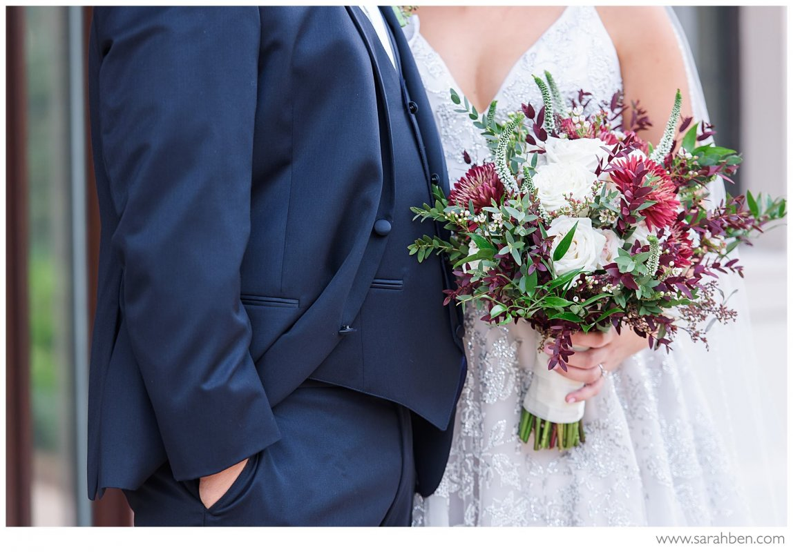 Bridal Bouquet with Veronica Flower, Burgundy Flower, Dahlias, Garden Rose, Parvifolia Eucalyptus,  Seeded Eucalyptus
