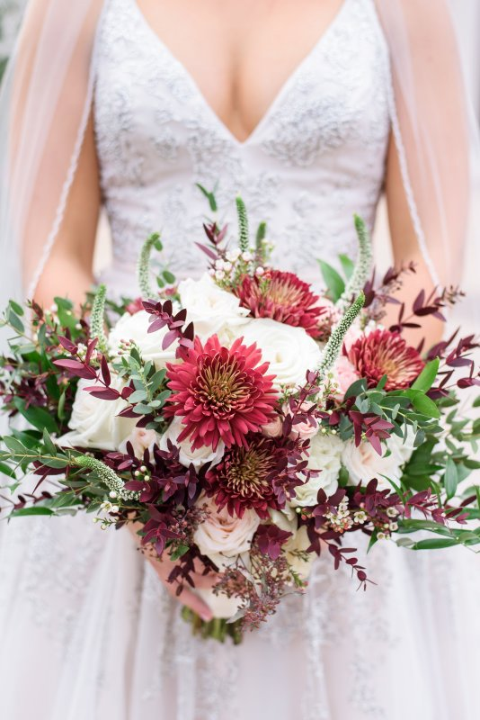 Close up of Bridal Bouquet featuring Garden Look with Burgundies, Blush, and Creams
