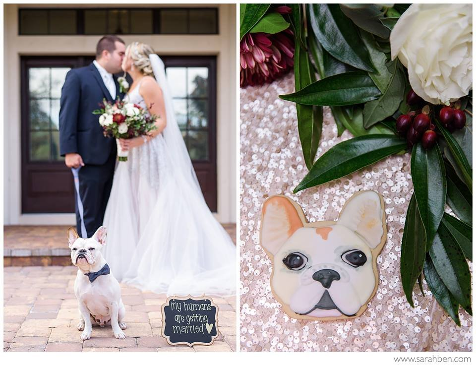 Wedding Couple with Dog and Dog Cookie Wedding Favors
