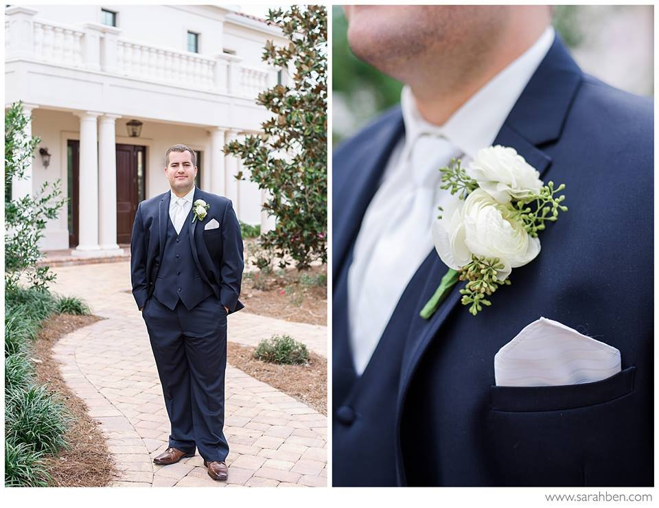 Groom's Boutonniere featuring Double Ranunculus wiht seeded Eucalyptus