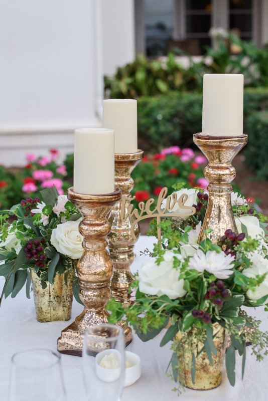 3 Gold Pedestal Candle Holders with 3 Arrangements
