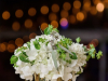 Cocktail Table Arrangement with  Hydrangea Bulpureum and Silver Dollar  in Gold Scallop Vase with