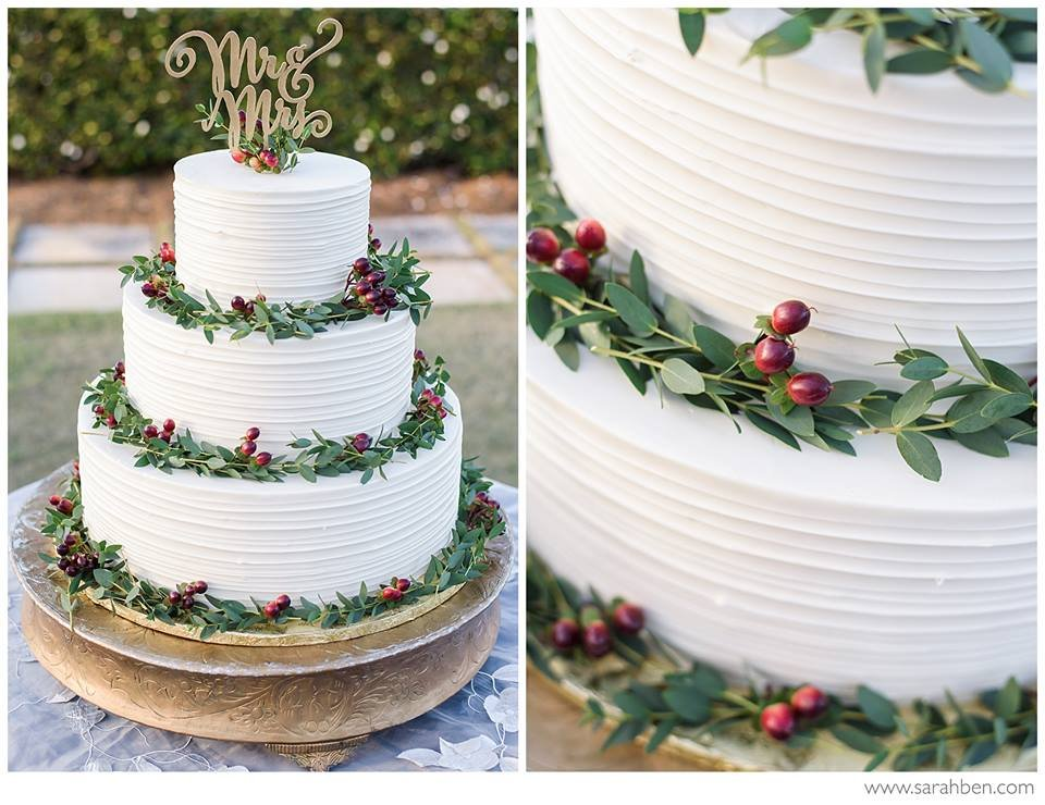 Wedding Cake with Hypericum Berries and Feather Eucalyptus