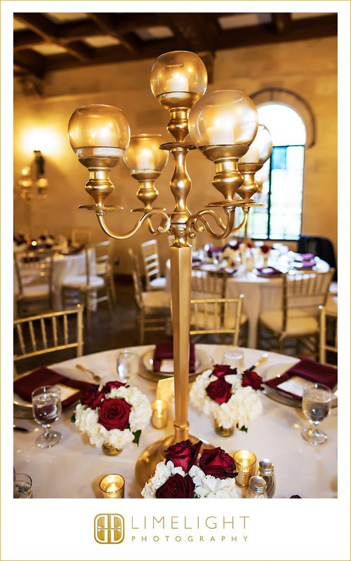 Candelabra with Flower Arrangement at Base