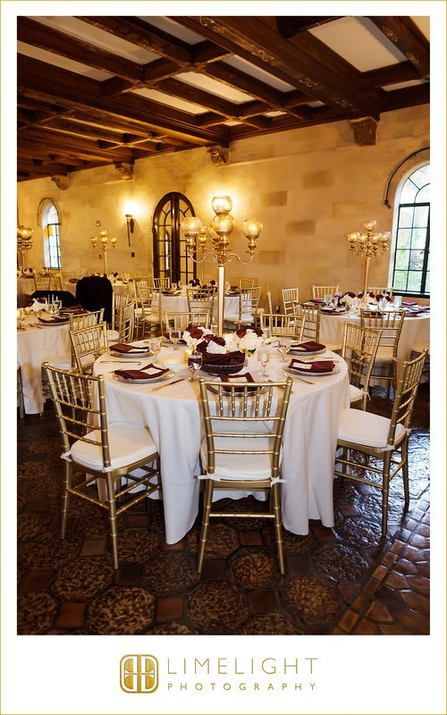Large Gold Candelabras on Guest Tables at Reception