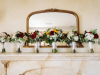 Bride and Bridesmaids Bouquets on Mantle