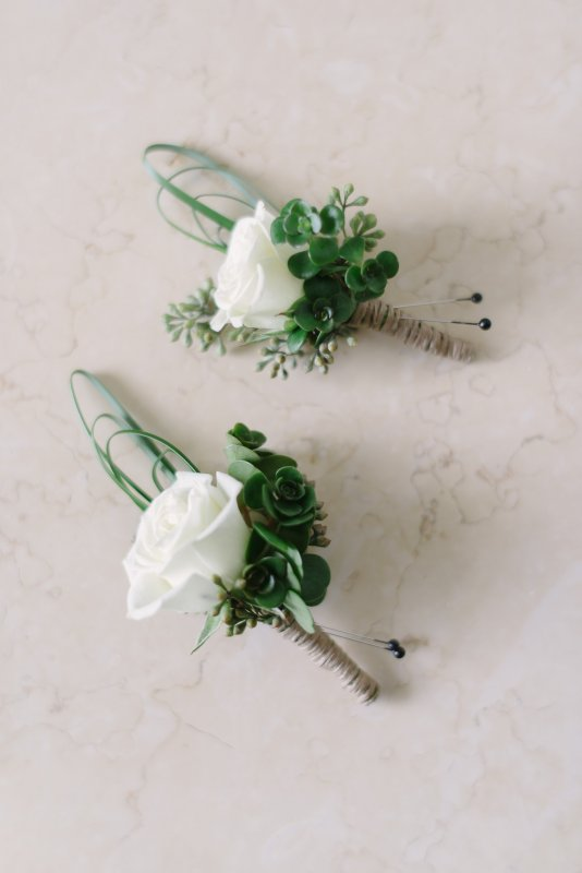 All- White Boutonnieres