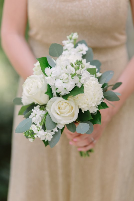 Pretty Close-Up of  All-White Bridesmaids' Bouquet