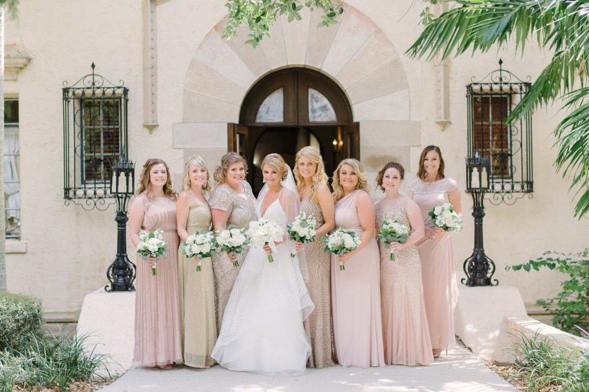 Bride with Bridesmaids Featuring All-White Bouquets
