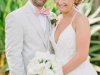 Bride and Groom  with All-White Bridal Bouquet