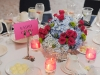 Wedding centerpieces in blue hot pink and green