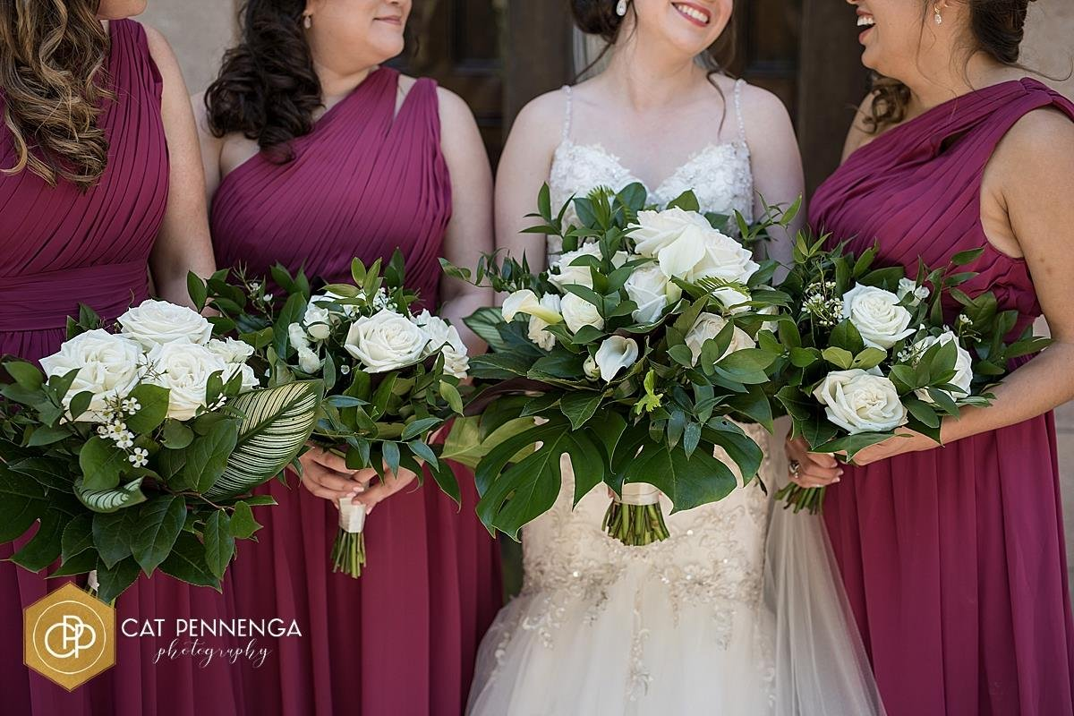 Bride and Bridesmaids with Tropical Leaf Bouquets and Flowers