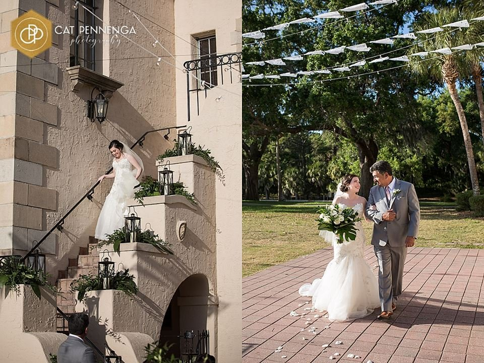 Bride on Stairway with Lanterns and Father walking Bride down the aisle