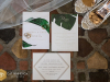 Wedding invite with Tropical Leaf Motif used throughout Wedding