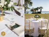 Reception on the lawn, guest table centerpieces in gold footed bowls