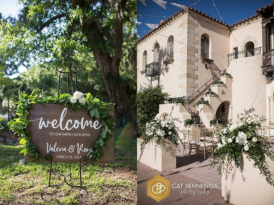 Welcome Sign and Loggia decorated with Lots of Greenery!