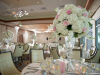 Ballroom at Sarasota Yacht Club with Elevated Floral Arrangements of Hydrangea an Pink Roses