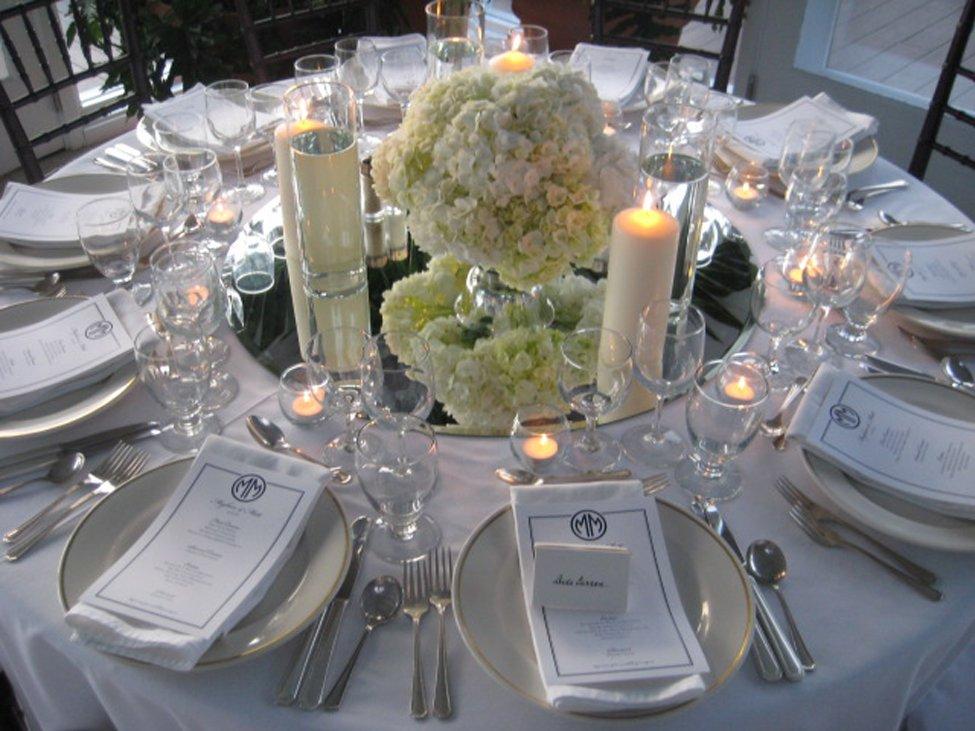 Wedding centerpiece of white hydrangea