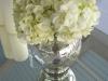 White hydrangea in mercury vase