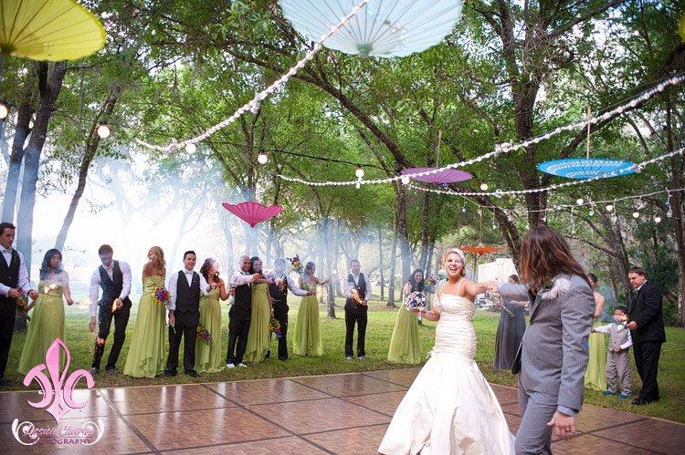 Outdoor wedding under the stars and umbrellaspy